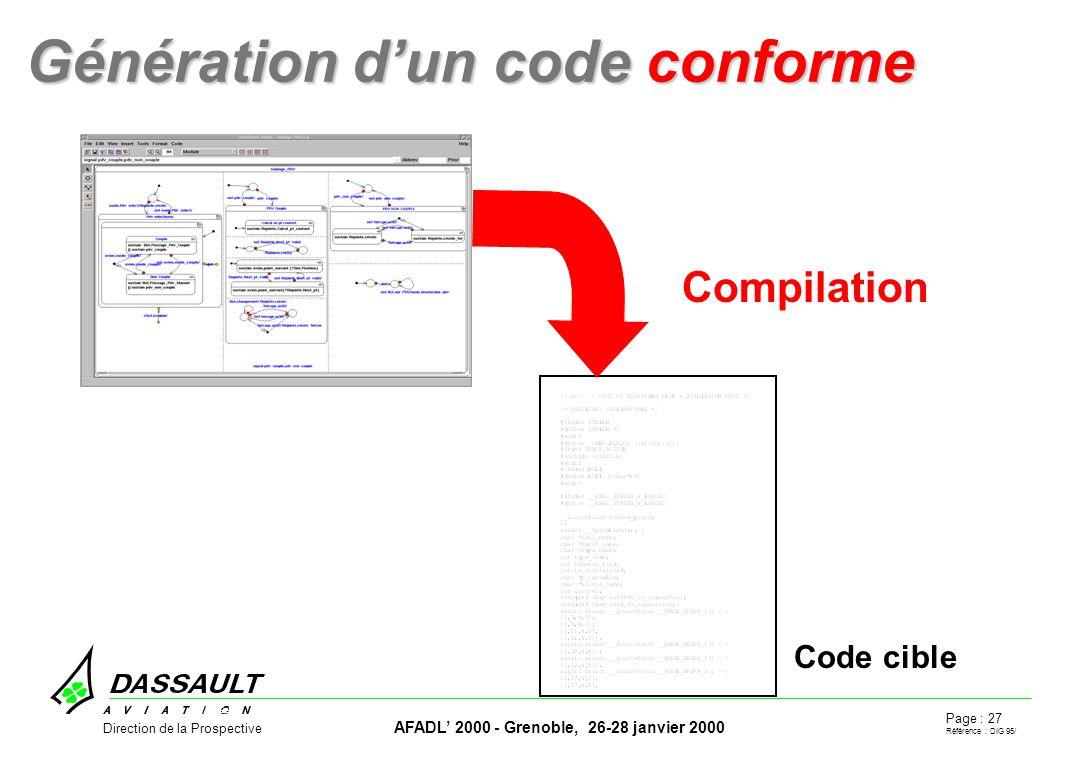 Page : 27 Référence : DIG 95/ AFADL 2000 - Grenoble, 26-28 janvier 2000 Direction de la Prospective Génération dun code conforme Génération dun code conforme Code cible Compilation