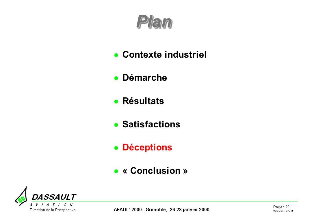 Page : 29 Référence : DIG 95/ AFADL 2000 - Grenoble, 26-28 janvier 2000 Direction de la Prospective PlanPlan Contexte industriel Démarche Résultats Satisfactions Déceptions « Conclusion »