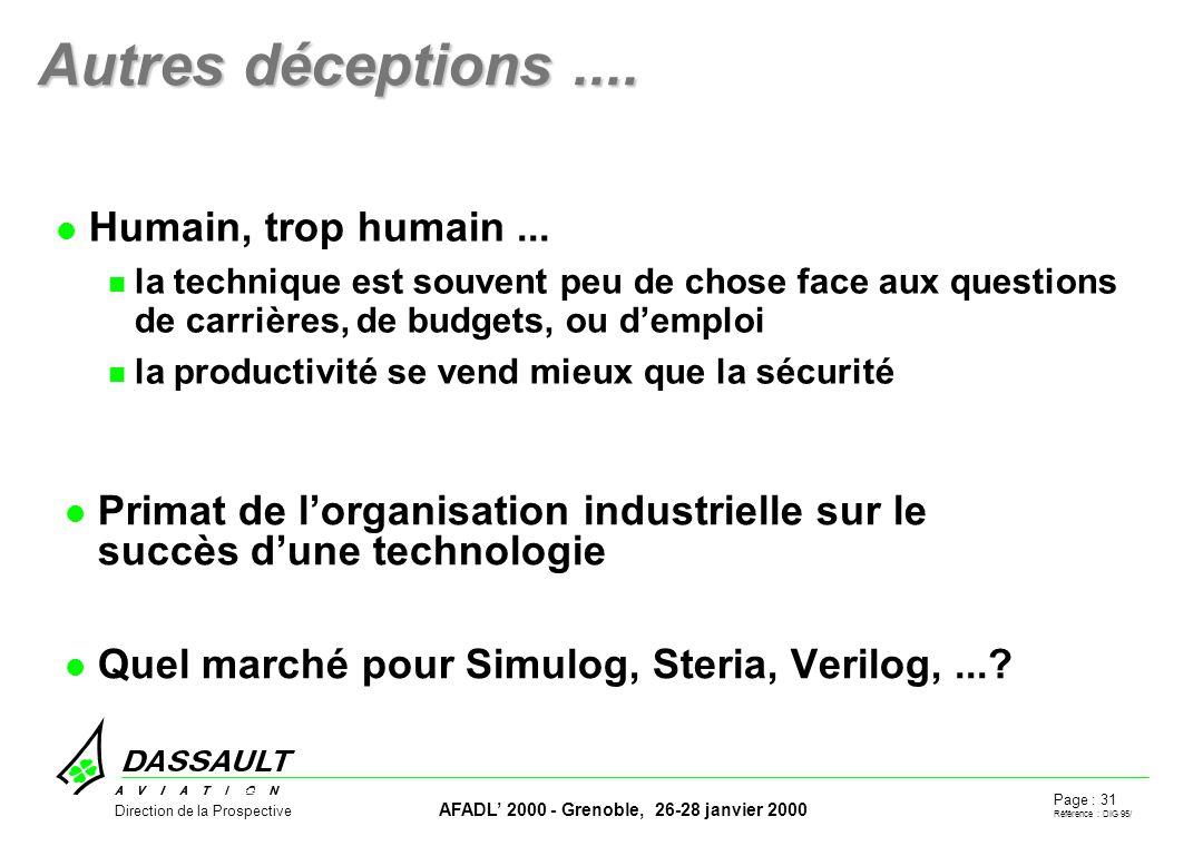Page : 31 Référence : DIG 95/ AFADL 2000 - Grenoble, 26-28 janvier 2000 Direction de la Prospective Autres déceptions....
