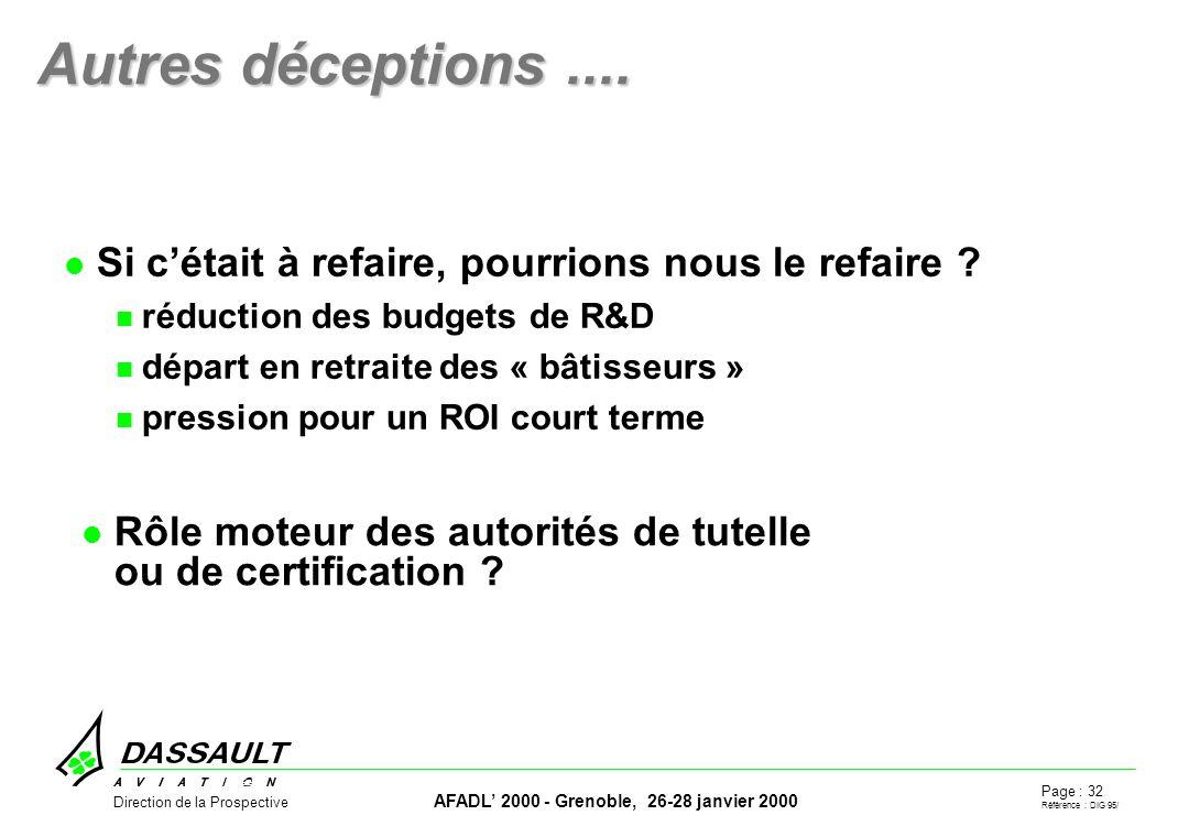 Page : 32 Référence : DIG 95/ AFADL 2000 - Grenoble, 26-28 janvier 2000 Direction de la Prospective Autres déceptions....
