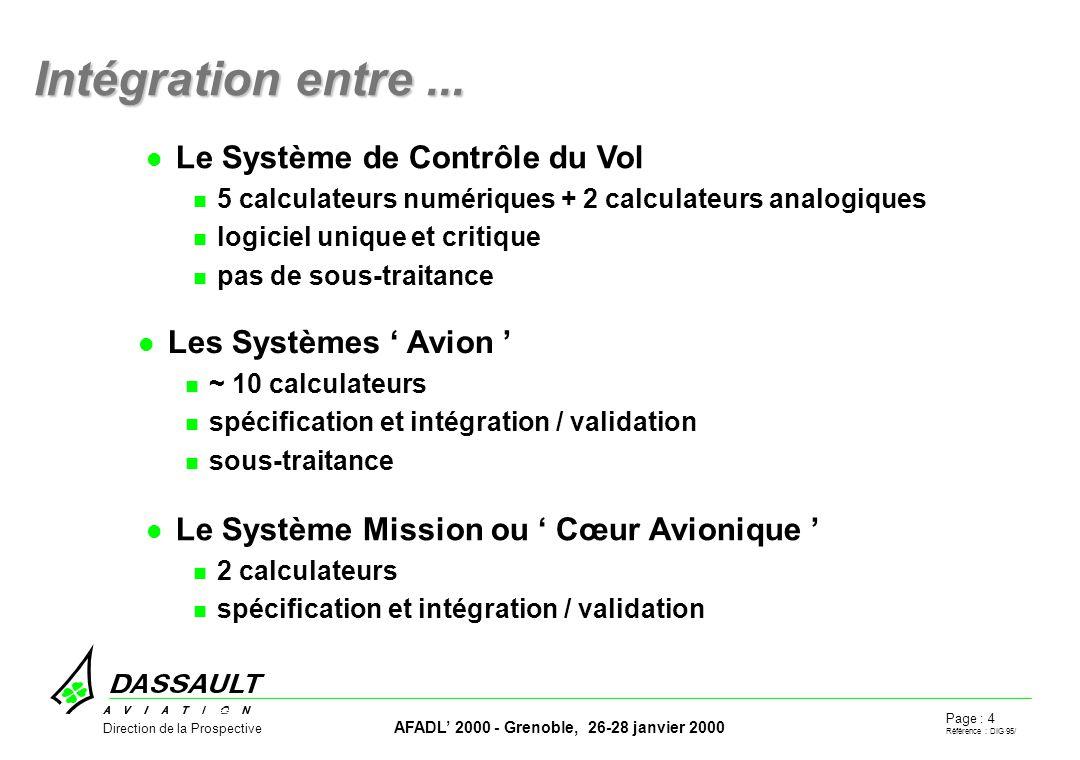 Page : 4 Référence : DIG 95/ AFADL 2000 - Grenoble, 26-28 janvier 2000 Direction de la Prospective Intégration entre...