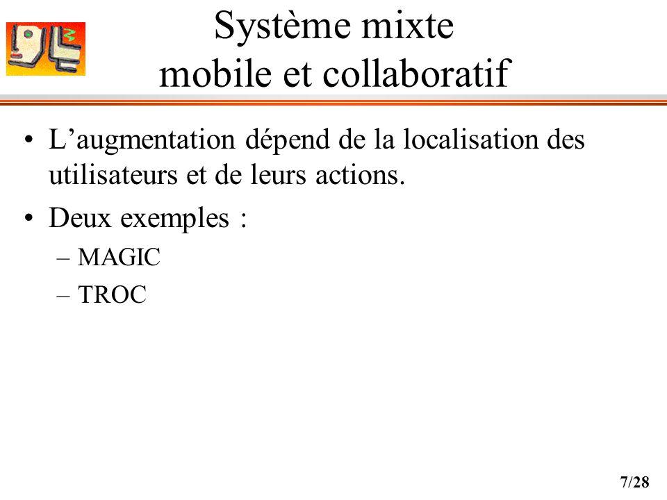8/28 Démarche Objectif méthodologique : –Espace de conception de systèmes mixtes mobiles et collaboratifs Objectif technologique : –Une plate-forme matérielle et logicielle générique pour des activités mobiles et collaboratives