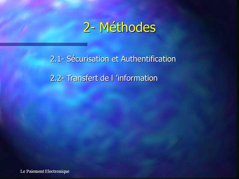 Le Paiement Electronique 2.1- Sécurisation et Authentification 2.2- Transfert de l information 2- Méthodes