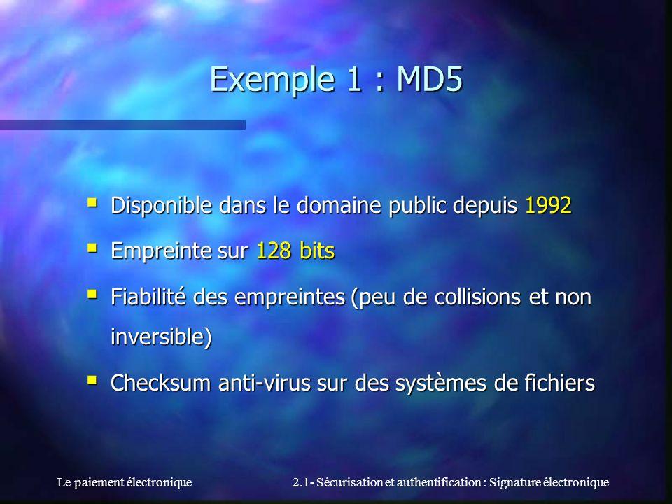 Le paiement électronique2.1- Sécurisation et authentification : Signature électronique Exemple 1 : MD5 Disponible dans le domaine public depuis 1992 D