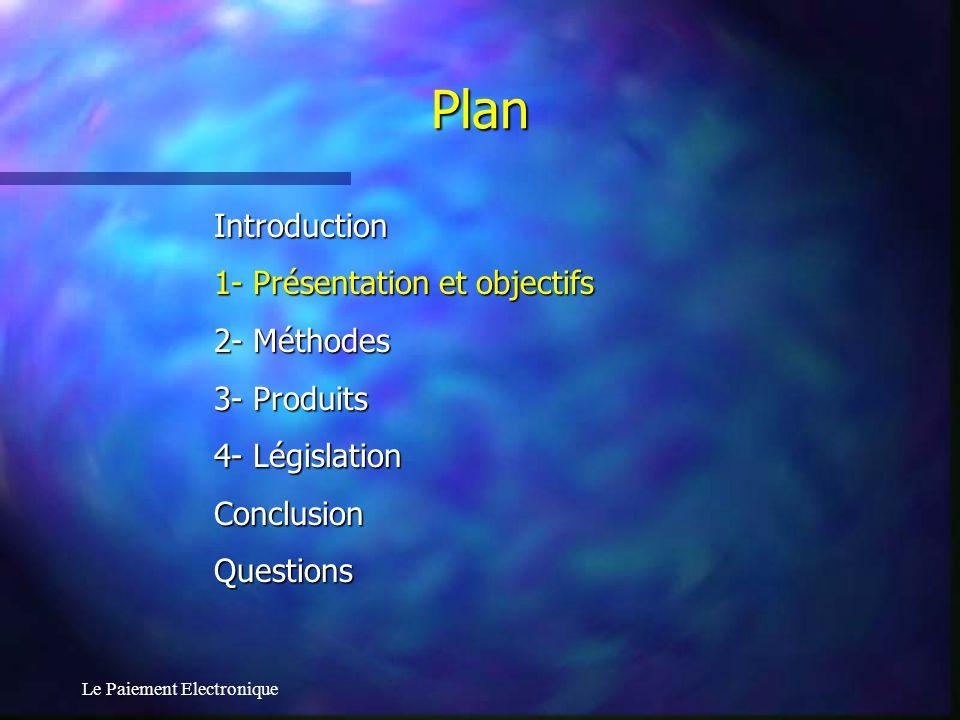 Le Paiement Electronique 1.1- Définition 1.2- Types de paiement 1.3- Propriétés à respecter 1.4- Moyens mis en œuvre 1.5- Coûts 1.6- B2B 1- Présentation et Objectifs