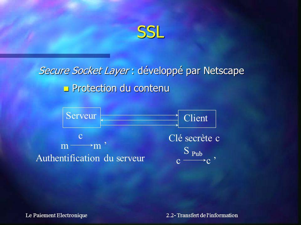 Le Paiement Electronique2.2- Transfert de l'information Secure Socket Layer : développé par Netscape n Protection du contenu Serveur Client Clé secrèt