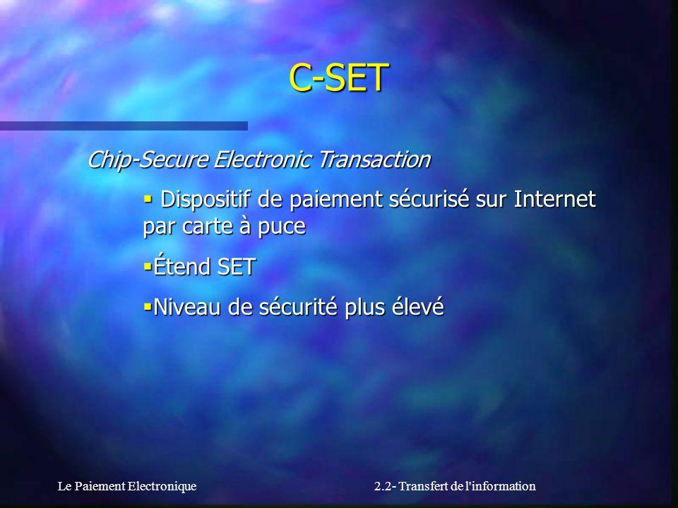 Le Paiement Electronique2.2- Transfert de l'information Chip-Secure Electronic Transaction Dispositif de paiement sécurisé sur Internet par carte à pu