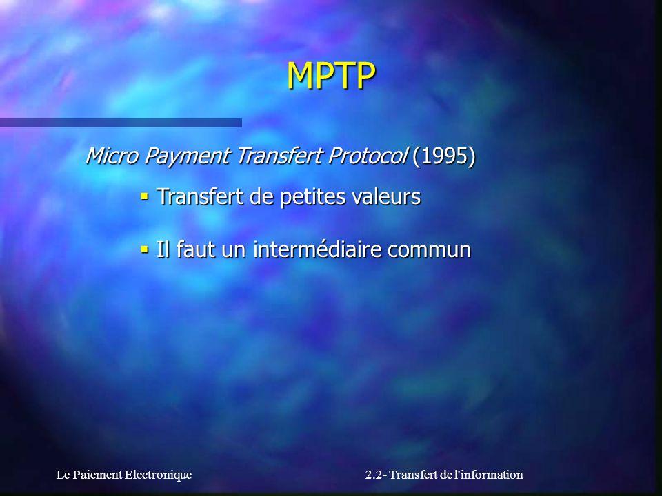 Le Paiement Electronique2.2- Transfert de l'information Micro Payment Transfert Protocol (1995) Transfert de petites valeurs Transfert de petites vale