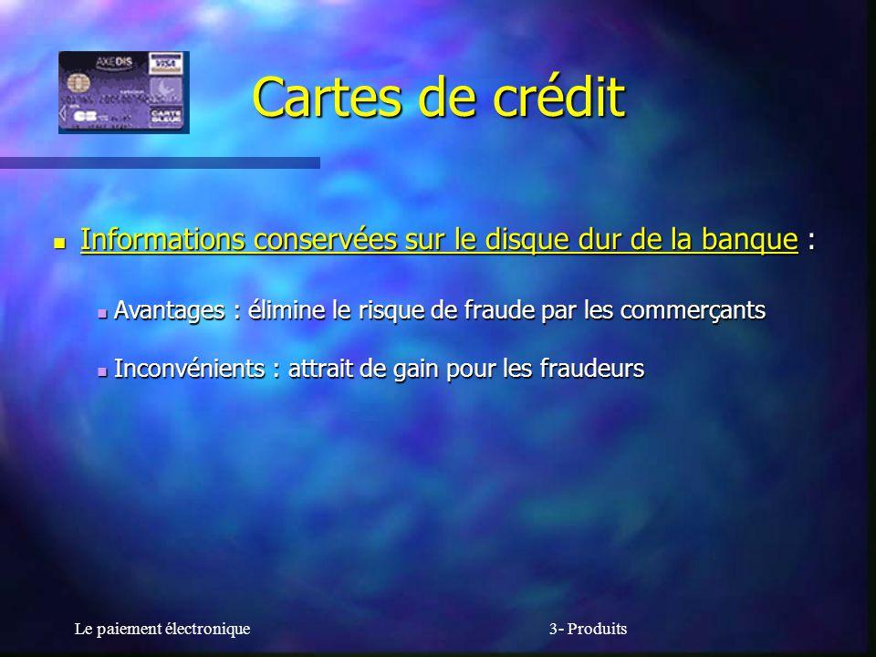 Le paiement électronique3- Produits Cartes de crédit Informations conservées sur le disque dur de la banque : Informations conservées sur le disque du