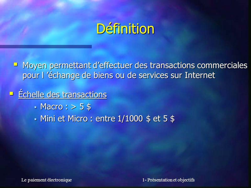 Le paiement électronique1- Présentation et objectifs Définition Moyen permettant deffectuer des transactions commerciales pour l échange de biens ou d