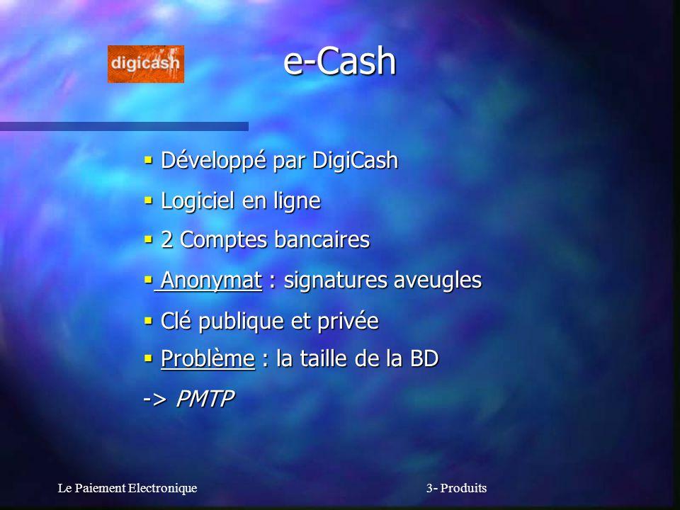 Le Paiement Electronique3- Produits e-Cash Développé par DigiCash Développé par DigiCash Logiciel en ligne Logiciel en ligne 2 Comptes bancaires 2 Com