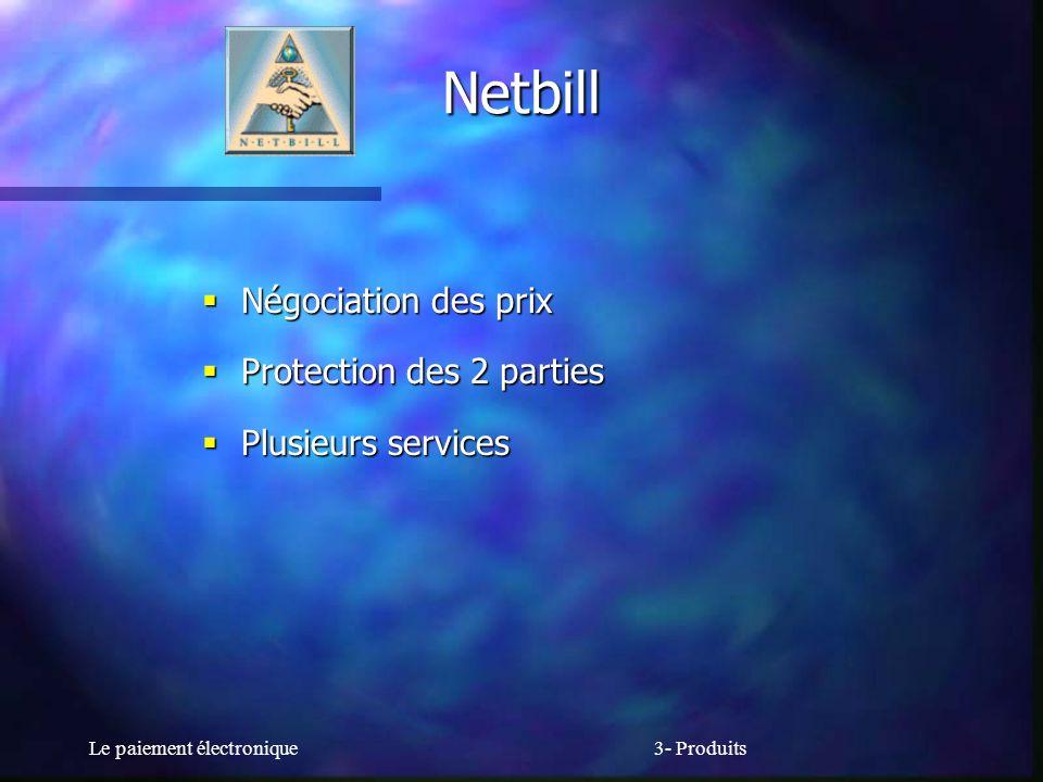 Le paiement électronique3- Produits Netbill Négociation des prix Négociation des prix Protection des 2 parties Protection des 2 parties Plusieurs serv