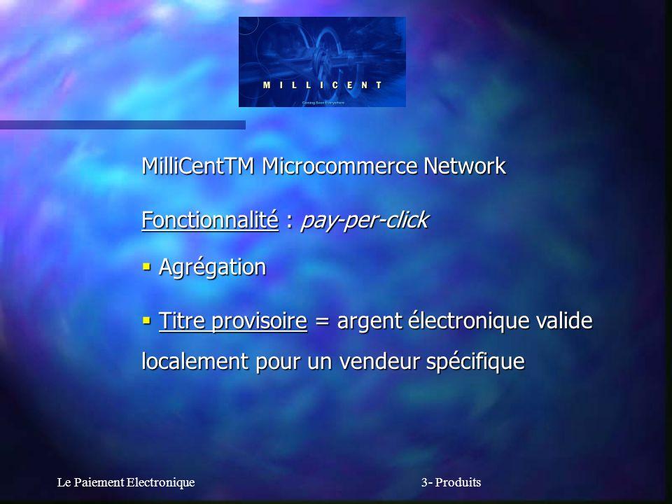 Le Paiement Electronique3- Produits MilliCentTM Microcommerce Network Fonctionnalité : pay-per-click Agrégation Agrégation Titre provisoire = argent é