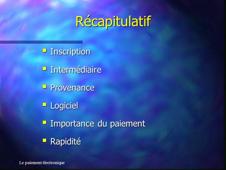 Le paiement électronique Récapitulatif Inscription Inscription Intermédiaire Intermédiaire Provenance Provenance Logiciel Logiciel Importance du paiem