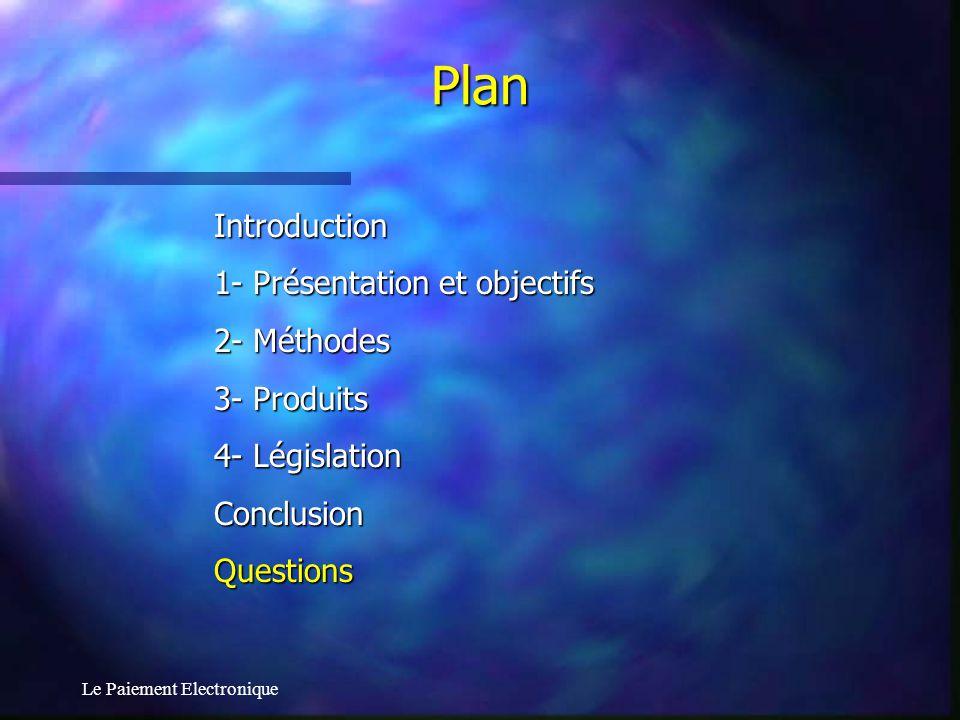 Le Paiement Electronique Introduction 1- Présentation et objectifs 2- Méthodes 3- Produits 4- Législation ConclusionQuestions Plan