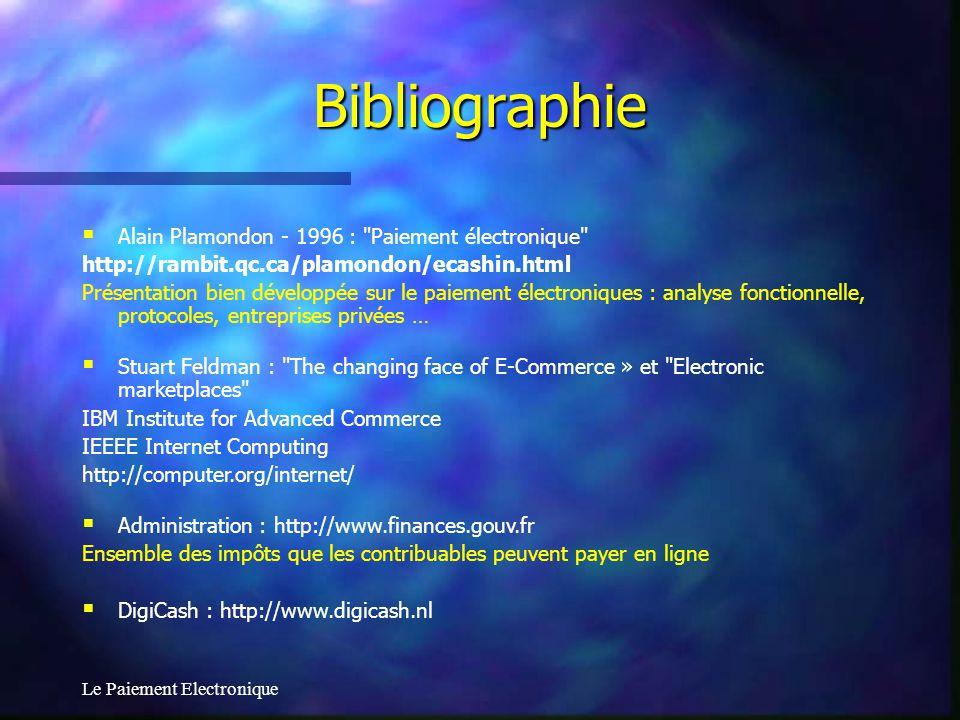 Le Paiement Electronique Bibliographie Alain Plamondon - 1996 :