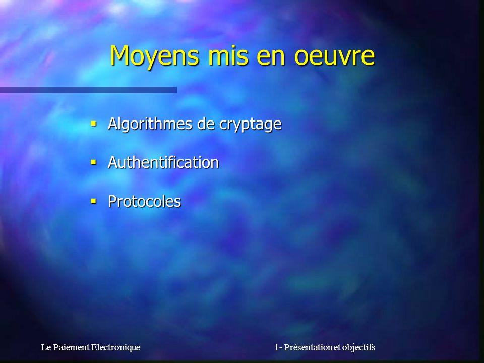 Le Paiement Electronique1- Présentation et objectifs Algorithmes de cryptage Algorithmes de cryptage Authentification Authentification Protocoles Prot
