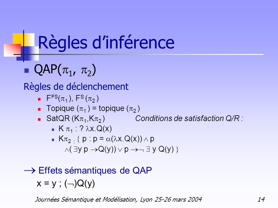 Journées Sémantique et Modélisation, Lyon 25-26 mars 2004 14 Règles dinférence QAP( 1, 2 ) Règles de déclenchement F FS ( 1 ), F S ( 2 ) Topique ( 1 ) = topique ( 2 ) SatQR (K 1,K 2 ) Conditions de satisfaction Q/R : K 1 : .