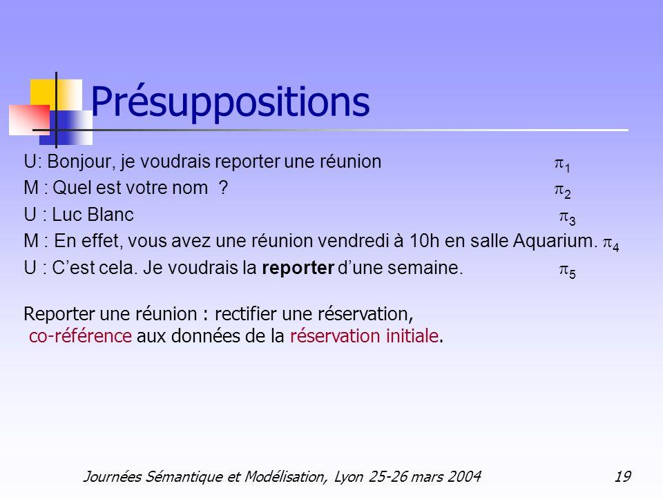 Journées Sémantique et Modélisation, Lyon 25-26 mars 2004 19 Présuppositions U: Bonjour, je voudrais reporter une réunion 1 M : Quel est votre nom ? 2