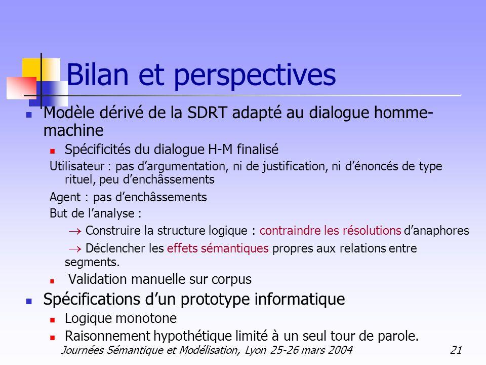 Journées Sémantique et Modélisation, Lyon 25-26 mars 2004 21 Bilan et perspectives Modèle dérivé de la SDRT adapté au dialogue homme- machine Spécific