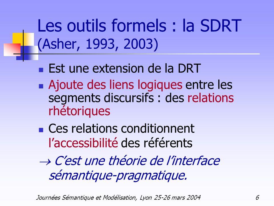 Journées Sémantique et Modélisation, Lyon 25-26 mars 2004 7 La DRT Discourse Representation Theory (Kamp, 1981, 1993) DRS Discourse Representation Structure U( ) Conditions C( ) Conditions : prédicat ou formule logique sur DRS marqueurs de référence de lUnivers : x1 x2… P (x1, x2) x1 = y x1 = C