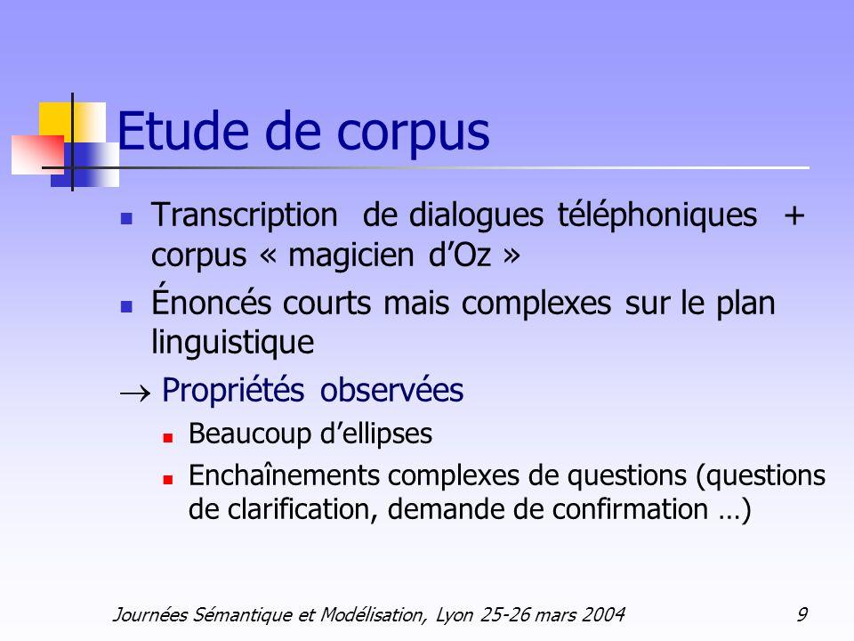 Journées Sémantique et Modélisation, Lyon 25-26 mars 2004 9 Etude de corpus Transcription de dialogues téléphoniques + corpus « magicien dOz » Énoncés