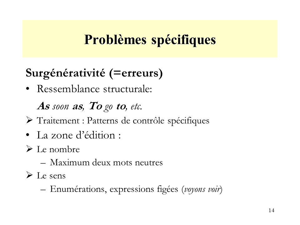 14 Problèmes spécifiques Surgénérativité (=erreurs) Ressemblance structurale: As soon as, To go to, etc.