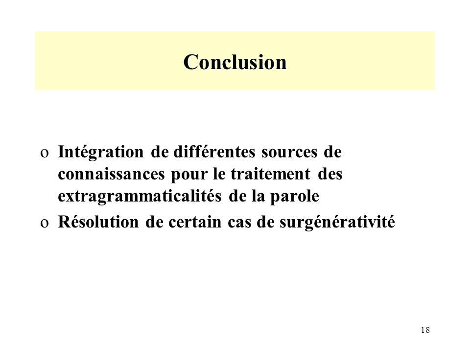 18 Conclusion oIntégration de différentes sources de connaissances pour le traitement des extragrammaticalités de la parole oRésolution de certain cas de surgénérativité