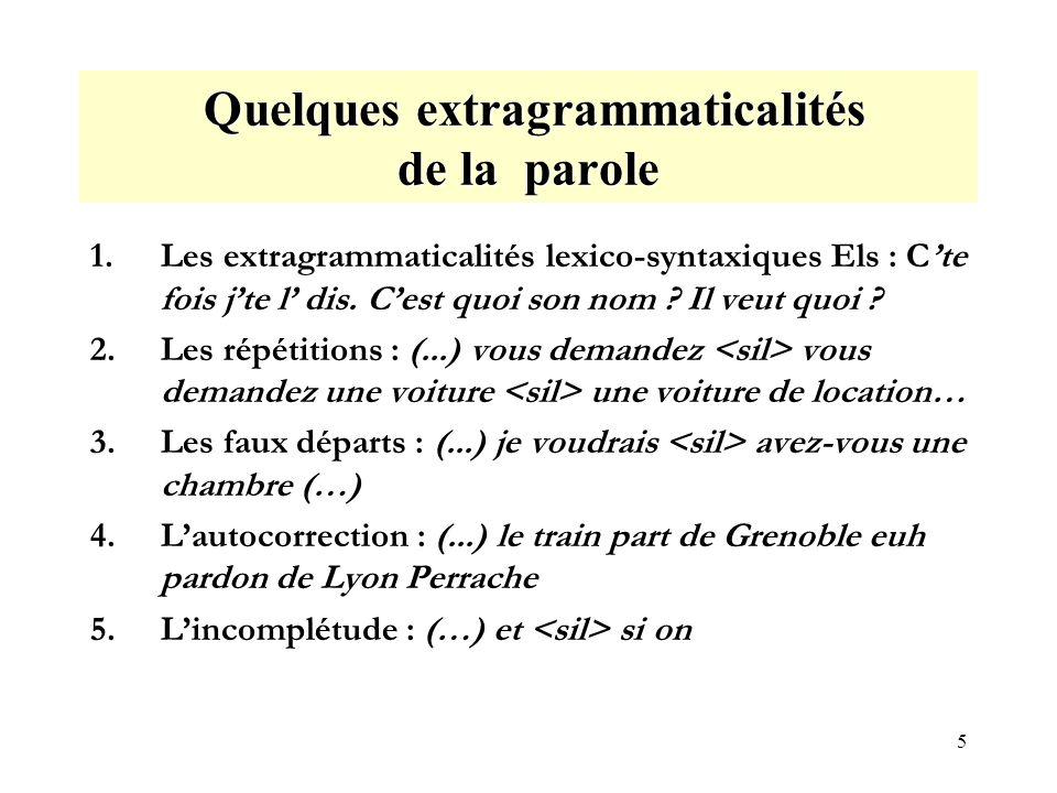 5 Quelques extragrammaticalités de la parole Quelques extragrammaticalités de la parole 1.Les extragrammaticalités lexico-syntaxiques Els : Cte fois jte l dis.