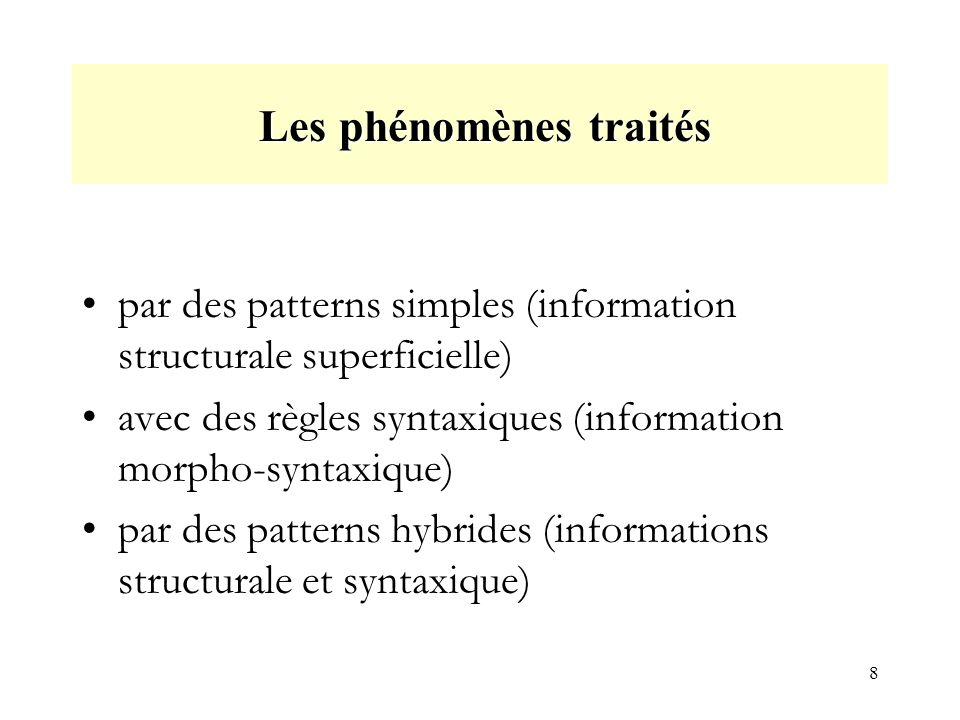 8 Les phénomènes traités Les phénomènes traités par des patterns simples (information structurale superficielle) avec des règles syntaxiques (information morpho-syntaxique) par des patterns hybrides (informations structurale et syntaxique)