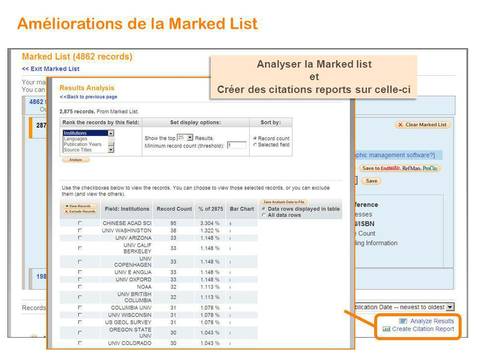 2875 Analyser la Marked list et Créer des citations reports sur celle-ci Analyser la Marked list et Créer des citations reports sur celle-ci Améliorations de la Marked List