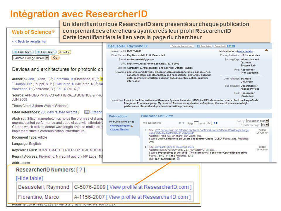 Un identifiant unique ResarcherID sera présenté sur chaque publication comprenant des chercheurs ayant créés leur profil ResearcherID Cette identifian