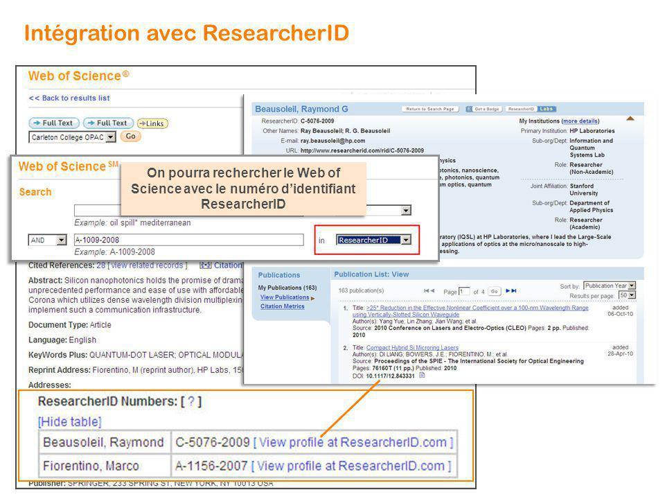 On pourra rechercher le Web of Science avec le numéro didentifiant ResearcherID Intégration avec ResearcherID