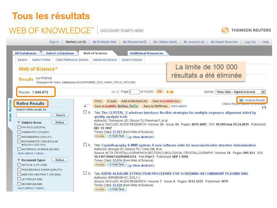 9 Affiner sur les différentes bases du Web of Knowledge