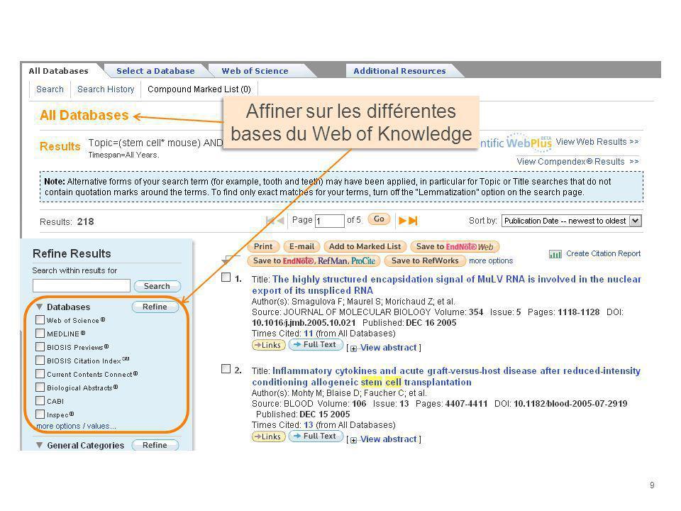 Améliorations de la Marked List Il est possible de stocker 5000 publications dans la Marked List, provenant de différentes bases