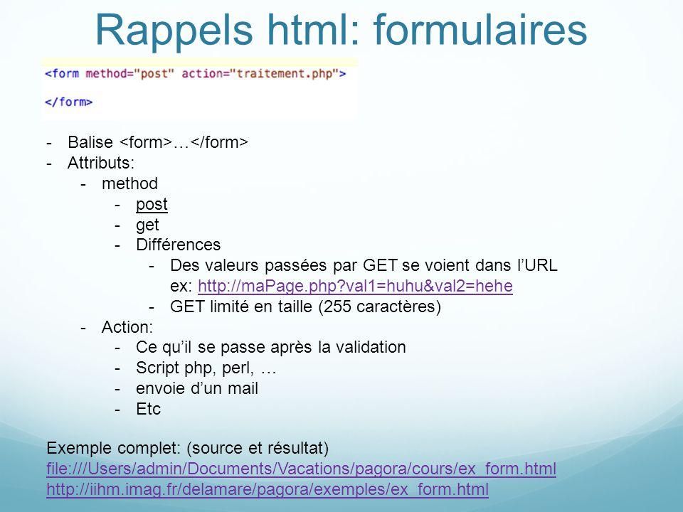 Rappels html: formulaires -Balise … -Attributs: -method -post -get -Différences -Des valeurs passées par GET se voient dans lURL ex: http://maPage.php