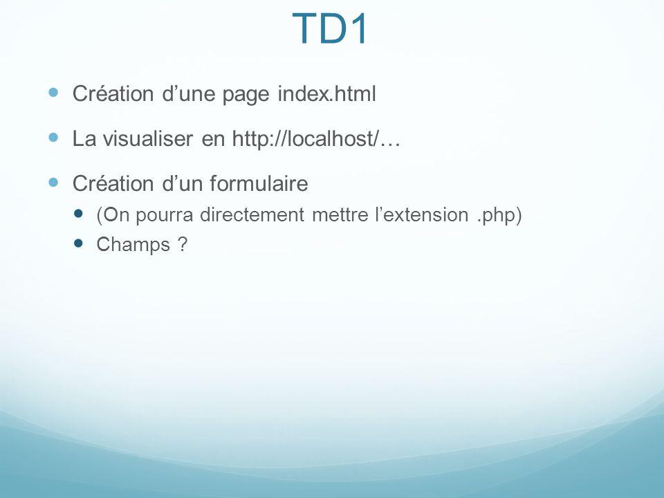 TD1 Création dune page index.html La visualiser en http://localhost/… Création dun formulaire (On pourra directement mettre lextension.php) Champs ?