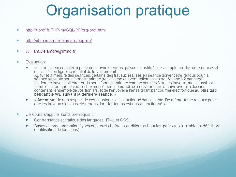 Organisation pratique http://tiprof.fr/PHP-mySQL/(1)/org-prat.html http://iihm.imag.fr/delamare/pagora/ William.Delamare@imag.fr Evaluation: « La note