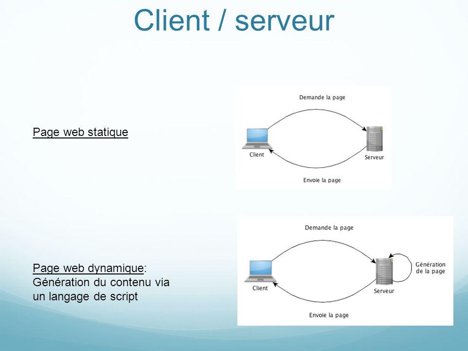 Client / Serveur Client = html/css (+js) Serveur doit donc générer html/css Outils: php/mySQL (Dans ce cours: pas de RIA Flex/As3, pas de PERL, ni applet Java, ni WebService, etc…)