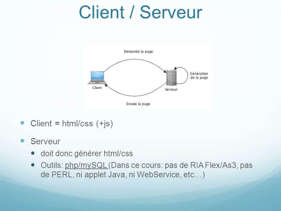 Client / Serveur Client = html/css (+js) Serveur doit donc générer html/css Outils: php/mySQL (Dans ce cours: pas de RIA Flex/As3, pas de PERL, ni app