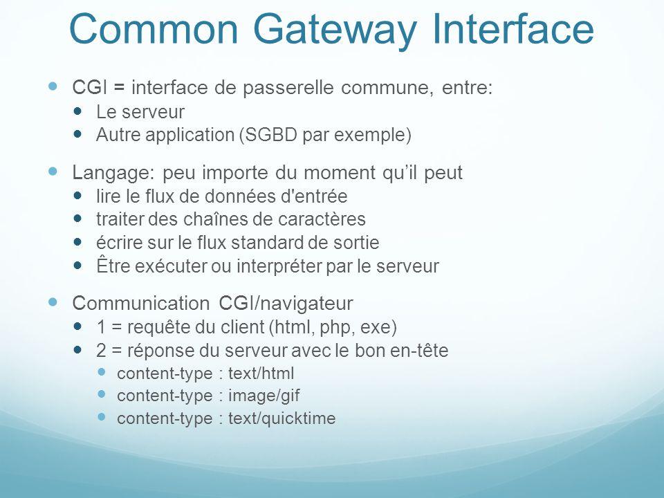 Common Gateway Interface CGI = interface de passerelle commune, entre: Le serveur Autre application (SGBD par exemple) Langage: peu importe du moment