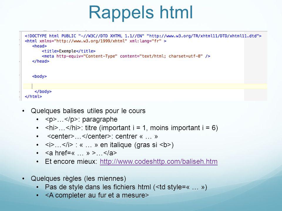 Rappels html Quelques balises utiles pour le cours … : paragraphe … : titre (important i = 1, moins important i = 6) … : centrer « … » … : « … » en it
