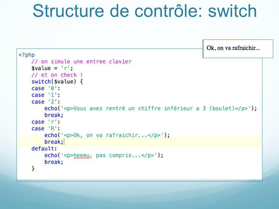 Structure de contrôle: switch