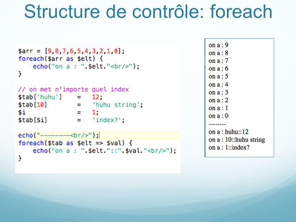 Structure de contrôle: foreach
