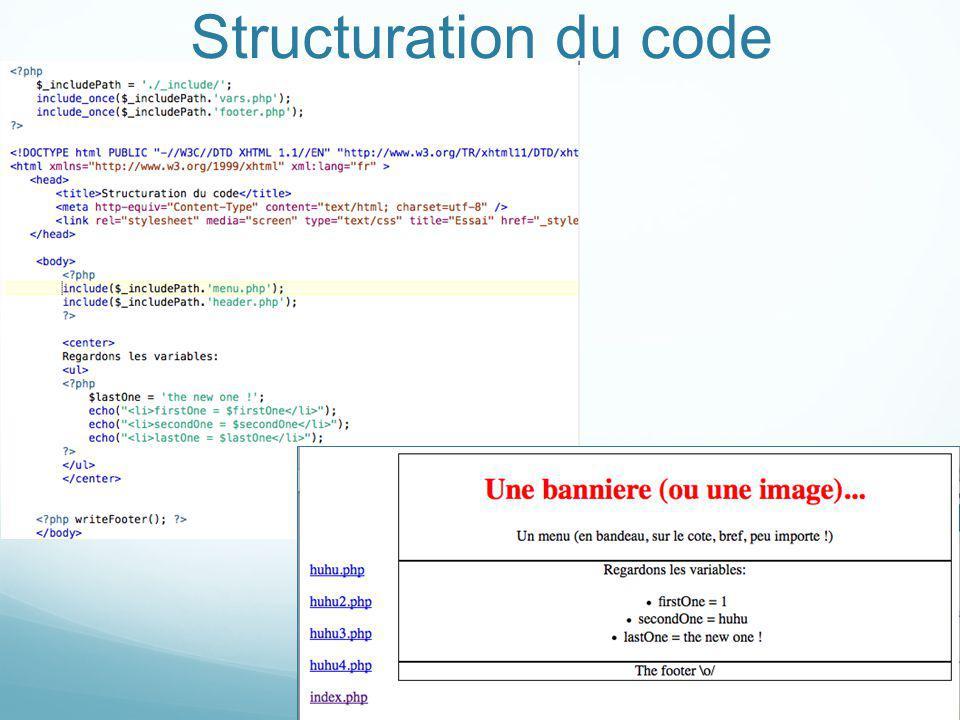 Structuration du code