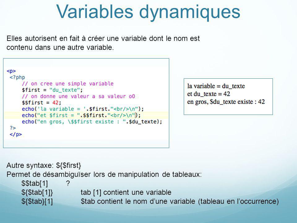 Variables dynamiques Elles autorisent en fait à créer une variable dont le nom est contenu dans une autre variable.