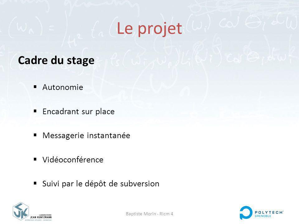Baptiste Morin - Ricm 4 Le projet Cadre du stage Autonomie Encadrant sur place Messagerie instantanée Vidéoconférence Suivi par le dépôt de subversion