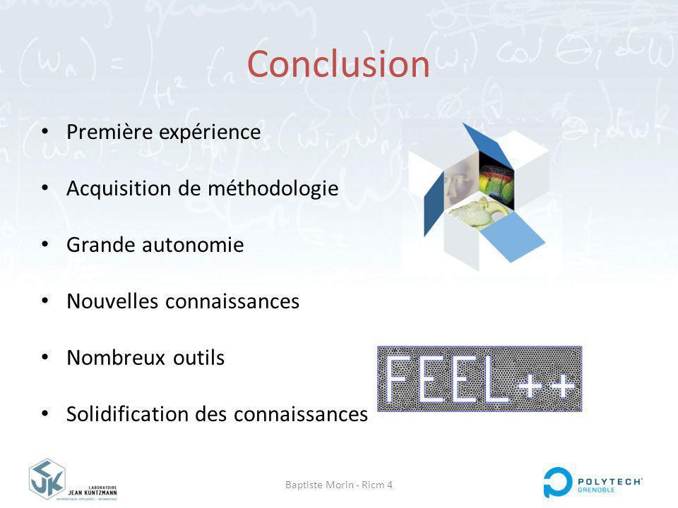 Baptiste Morin - Ricm 4 Conclusion Première expérience Acquisition de méthodologie Grande autonomie Nouvelles connaissances Nombreux outils Solidification des connaissances