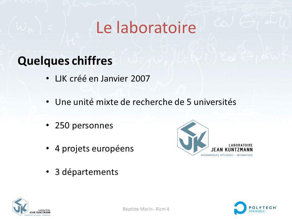 Baptiste Morin - Ricm 4 Le laboratoire Quelques chiffres LJK créé en Janvier 2007 Une unité mixte de recherche de 5 universités 250 personnes 4 projets européens 3 départements