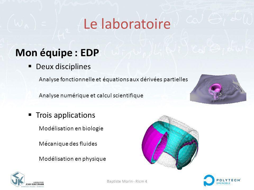 Baptiste Morin - Ricm 4 Mon équipe : EDP Deux disciplines Trois applications Analyse fonctionnelle et équations aux dérivées partielles Analyse numérique et calcul scientifique Modélisation en biologie Mécanique des fluides Modélisation en physique Le laboratoire